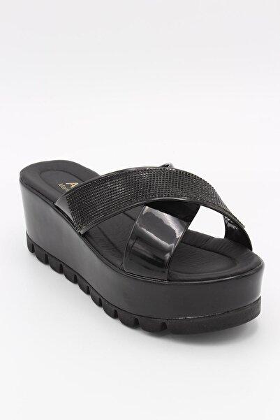 AKSU Kadın Siyah Topuklu Terlik 7 cm