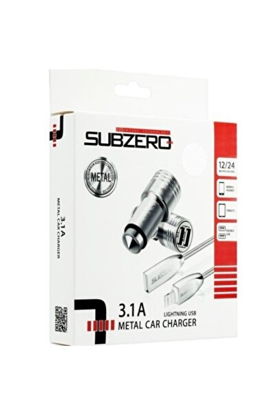 Subzero 3.1a Metal Araç Şarj + Metal Kablo