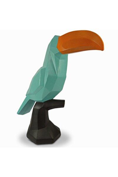 Tual Hobi Sanat Yeşil Kübik Tukan Kuşu Heykeli Dekaratif Obje Biblo