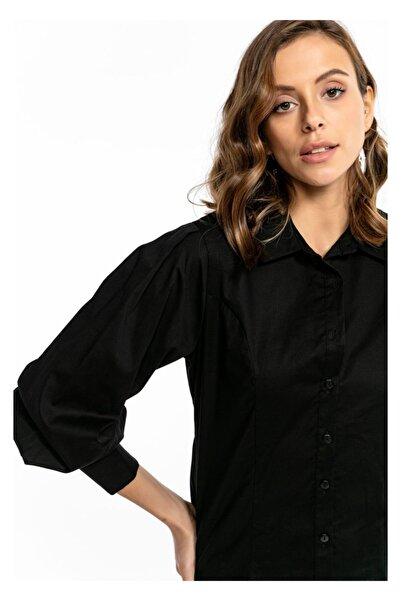 TIFFANY&TOMATO Kadın Siyah Pileli Kol Poplin Gömlek