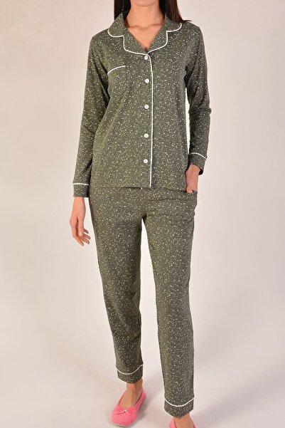 Nicoletta Kadın Haki Uzun Kollu Düğmeli Cepli Pamuk Pijama Takımı