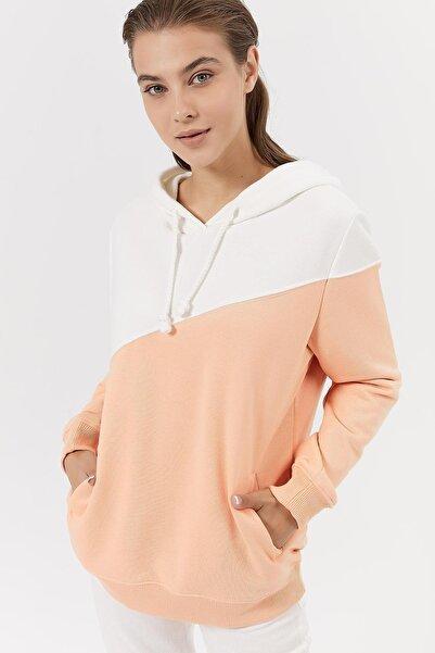 Y-London Kadın Somon Renk Bloklu İçi Polarlı Kapşonlu Sweatshirt Y20W189-10001