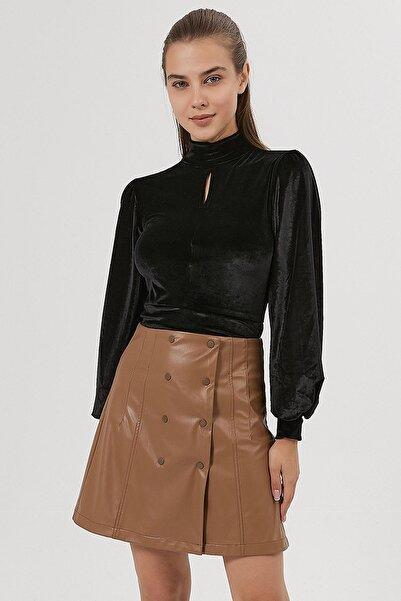 Y-London Kadın Siyah Kadife Crop Bluz Y20W185-1327