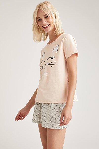 DeFacto Kadın Gri Baskılı Pijama Takımı