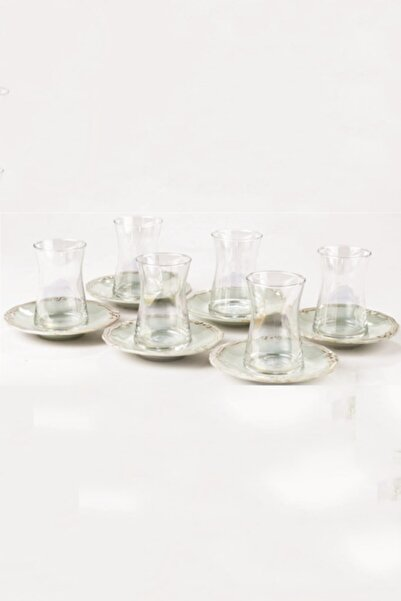 KUMSAR Laviva 12 Parça Çay Bardağı Seti Mio Antik Collection Turkuaz