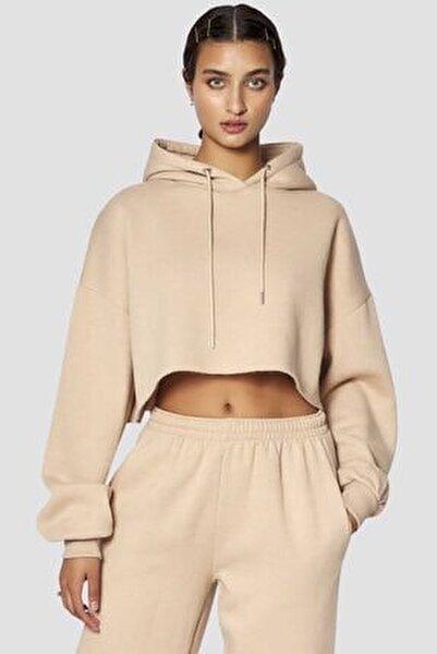 Kadın Bej Mad Girls Basic Kapüşonlu Sweatshirt Mg770