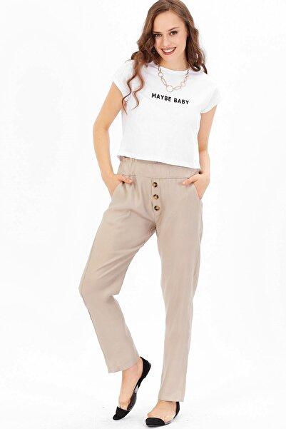 Arma Life Kadın Bej Düğme Detaylı Pantolon