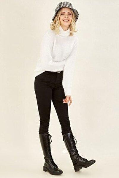 Kadın Siyah Yüksek Bel Likralı Pantolon