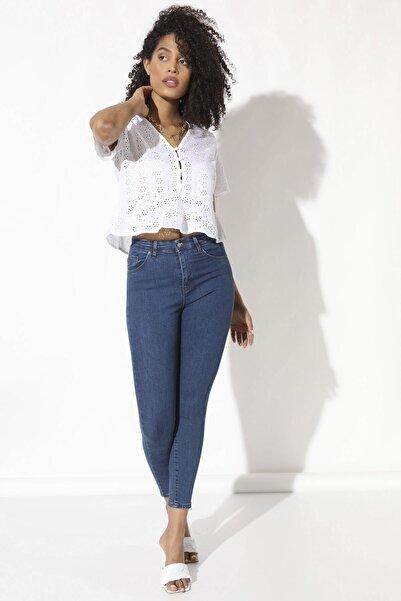 Arma Life Kadın Mavi Yüksek Bel Likralı Pantolon