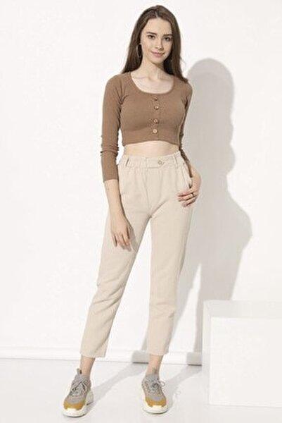 Kadın Taş Düğmeli Gabardin Pantolon