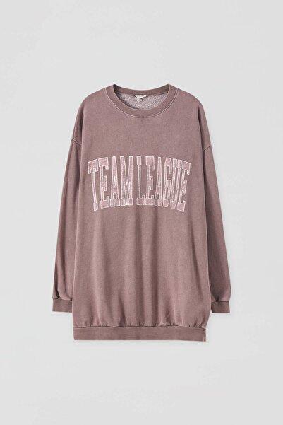 "Pull & Bear Kadın Koyu Pembe  ""Athletic"" Sloganlı Sweatshirt 09594450"
