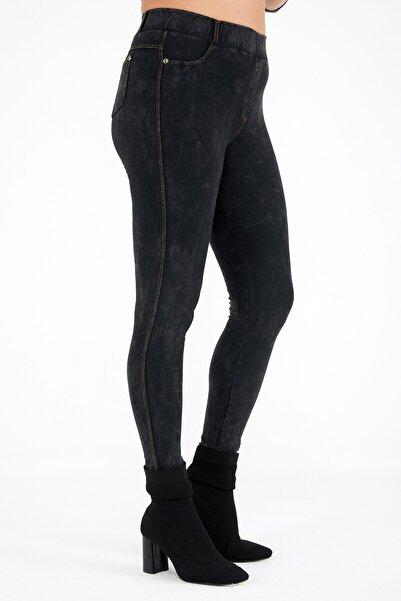 Siyezen Büyük Beden Füme Jean Görünümlü Tayt Pantolon