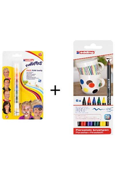 Edding Funtastıc Yüz Boyama Kalemi Seti + Ana Renkler Porselen Boyama Kalem Seti