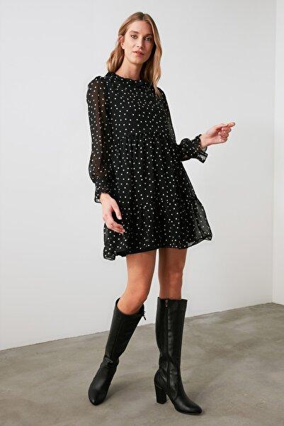 TRENDYOLMİLLA Siyah Puantiyeli Elbise TWOAW21EL1482