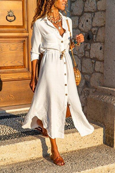 Güneşkızı Kadın Beyaz Keten Beli Büzgülü Hasır Kemerli Gömlek Elbise GK-BST2837
