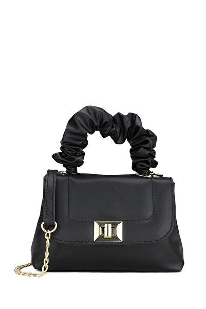Housebags Büzgü Saplı Üç Bölmeli Siyah Omuz Çantası 194