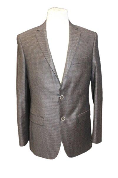 Uptown Erkek Kahverengi Ufak Kareli Yünsa Kumaş Çift Düğme Tek Yırtmaç Ceket