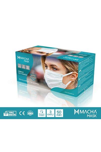 Macha Mask 3 Katlı Koruyucu Burun Telli Ultrasonik Beyaz Renk 50 Adet Medikal Maske