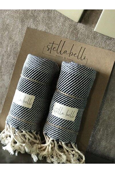 Stella Belli Peşkir El Dokuması 2 Li Set Nalın Desen Antrasit Renk 2 Adet 40 X 90 Cm