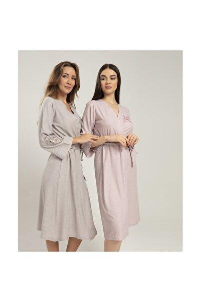 Bone Pijama Kadın Pudra Sabahlık Club Melisa