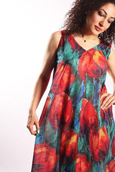 Blues Outlet Kadın Desenli Transparan Plaj Elbise