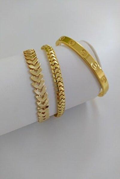 Kadın Gold Renk Kararmaz Çelik Kombin Bileklik