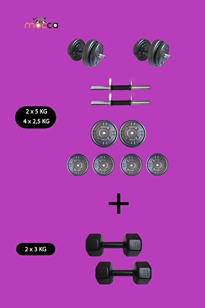 Moccastyle 20 Kg +2 X 3 Kg Dambıl Seti Ağırlık Ve Vücut Geliştirme Aleti 26 Kg (24 Saat'te Kargoda)