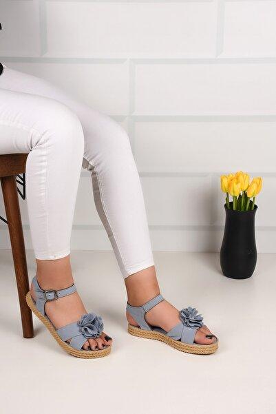 Weynes Kadın Püskül Çiçekli Hasır Düz Taban Sandalet Ba21062