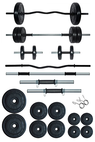 Fitset 58 kg Z Barlı Halter Seti Ve Dambıl Seti Ağırlık Fitness Seti