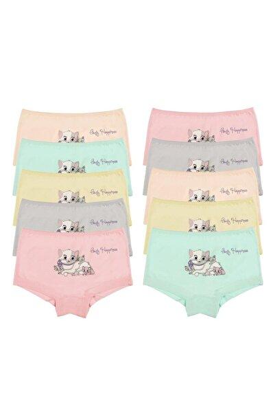 Donella Kız Çocuk Renkli Kedi Baskılı Şort 10'lu  4671fh