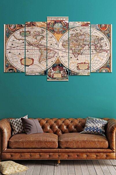 Evimona 5 Parçalı Mdf Tablo - Dünya Haritası