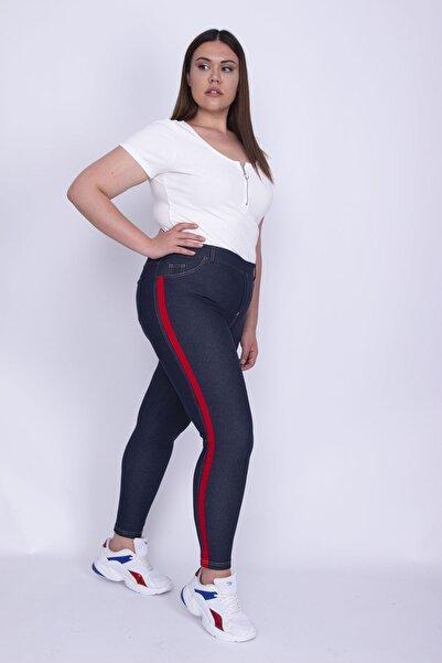 Şans Kadın Lacivert Tensel Kot Yan Şeritli Tayt Pantolon 65N25965