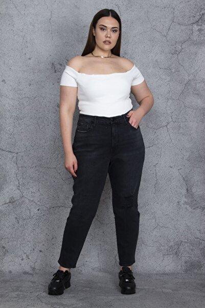 Şans Kadın Antrasit Yırtık Detaylı Likralı 5 Cep Rahat Kesim Kot Pantolon 65N25832
