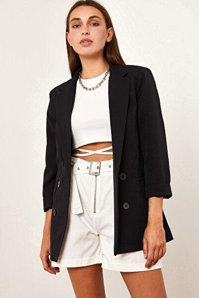 Hadise Kadın Siyah Dört Düğme Ceket