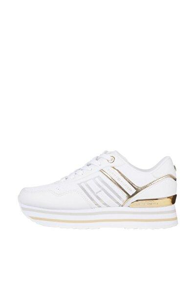 Tommy Hilfiger Kadın Beyaz Sneaker Knitted Flatform Sneaker FW0FW05555