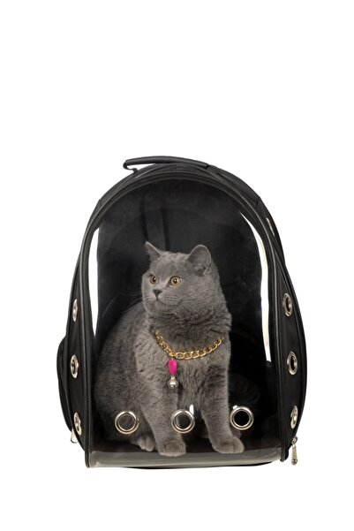 LOS ANGELES POLO CLUB Şeffaf Astronot Kırılmaz Kedi Köpek Taşıma Çantası 42 X 22 X 33 Cm Siyah