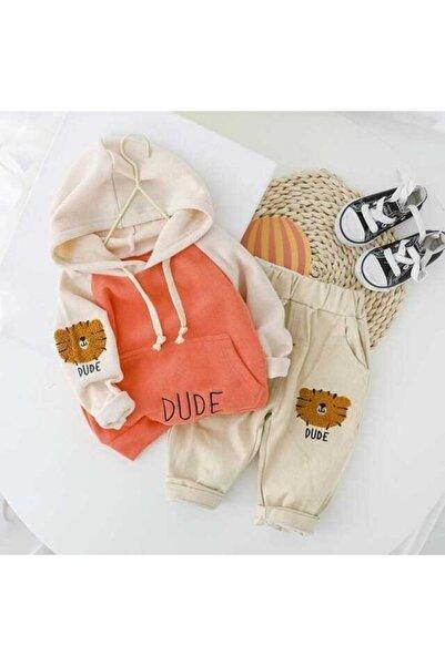 berta baby Unisex Bebek Turuncu Kapüşonlu Bebek Takım 2'li