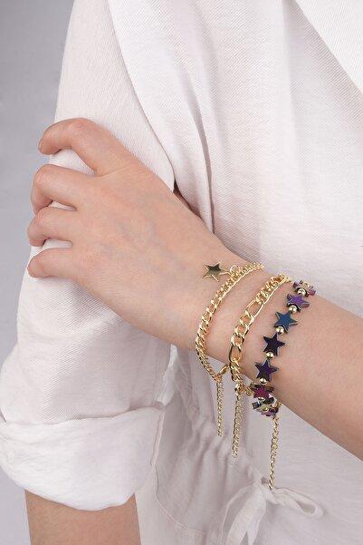 Marjin Kadın Altın Renkli Yıldız Figürlü Renk Geçişli Üçlü Zincir Bileklik