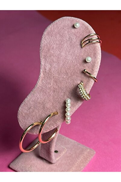 Cute Thing 8 Parça Altın Kaplama Zirkon Taşlı Halka, Incili Kıkırdak Küpe - Ear Cuff - Sıkıştırma Set