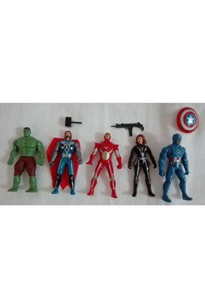 AVENGERS Işıklı 5 Adet Kahraman Seti Demir Adam Hulk Kaptan Amerika Thor Karadul Birlikte