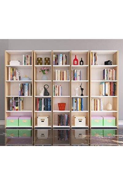 Nur Mobilya 5'li Arkalıklı Kitaplık Meşe Beyaz