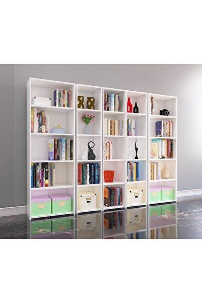 Nur Mobilya 5'li Arkalıklı Kitaplık Beyaz