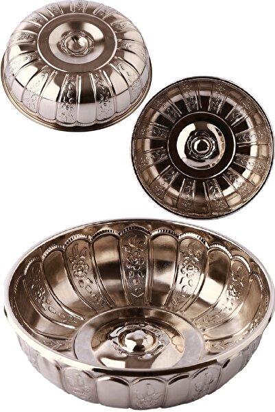 BİTERSE Nostaljik Osmanlı Hanedan Demir Hamam Tası Gümüş Renk 20 Cm