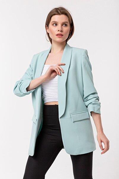 NATUREL Kadın Mint Yeşil Kolu Büzgülü Blazer Ceket