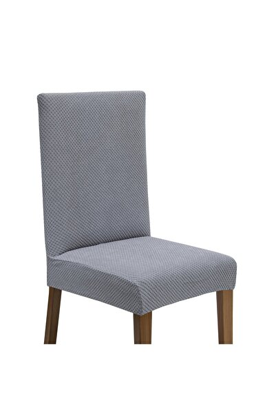 Latuda Concept Likralı Yıkanabilir 6'lı Sandalye Kılıfı   Sandalye Örtüsü Gri