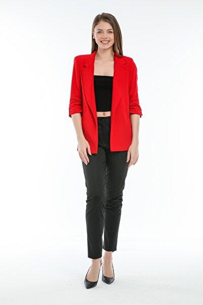 SİSLİNE Kadın Kırmızı Truvakar Kol Blazer Ceket