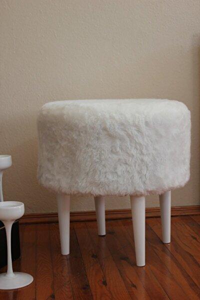 ALBATROS Gürgen Ahşap Ayaklı Dekoratif Beyaz Yuvarlak Pelüş Puf Bench Kolyuk Sandalye