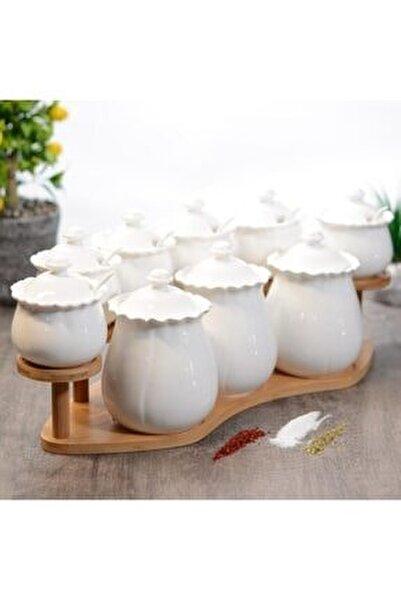 Sefa Çeyiz 9 Parça Kaşıklı Bambu Standlı Porselen Baharat Takımı
