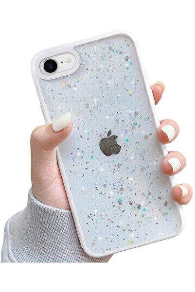 Teknoçeri Iphone 7 / 8 / Se 2020 Kenarı Renkli Simli Darbe Önleyici Silikon Kılıf Beyaz
