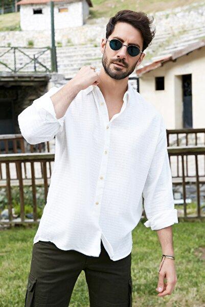 Sateen Men Erkek Ekru Oversize Kendinden Desenli T-Shirt